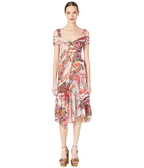 FUZZI Cross Stitch Tulle Print Double Shoulder Knee Dress