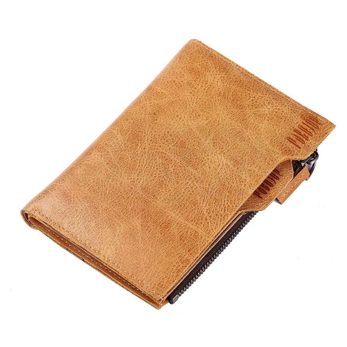 失敗ありそうバウンス短財布 二つ折り カードケース付き カード入れ 本革 牛革 メンズ 多機能 お札入れ 縦型財布 パボジョエ Pabojoe(イエロー色)