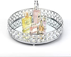 Feyarl Anti-Scratch Real Glass Mirror Surface Crystal Cosmetic Vanity Tray Jewelry Trinket Organizer Makeup Decorative Tray Dresser Perfume Skin Care Storage Tray (10