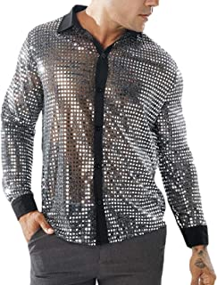 AngelSpace Mens Formal Mesh Party Glitter Sequin Long-Sleeve Slim Fit Western Shirt