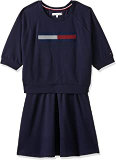 Tommy Hilfiger Girl's Lurex Flag Knit Short Sleeve Dress, Blue (Black Iris 002)