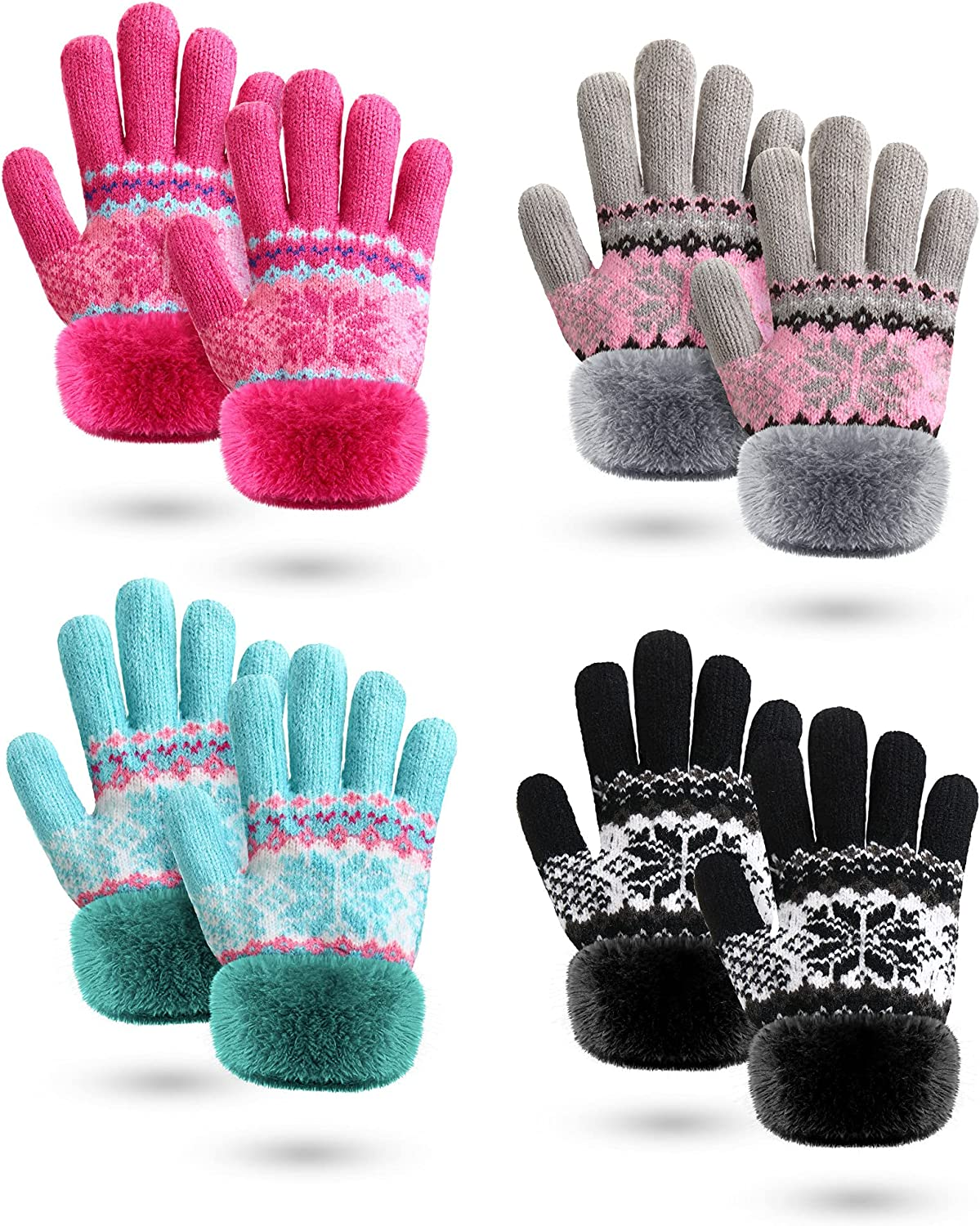 Toddler Winter Gloves 4 Pairs Baby Boy Girl Warm Snowflake Gloves Fleece Lining Gloves Faux Fur Cuff Winter Mittens Full Fingers Knitted Gloves
