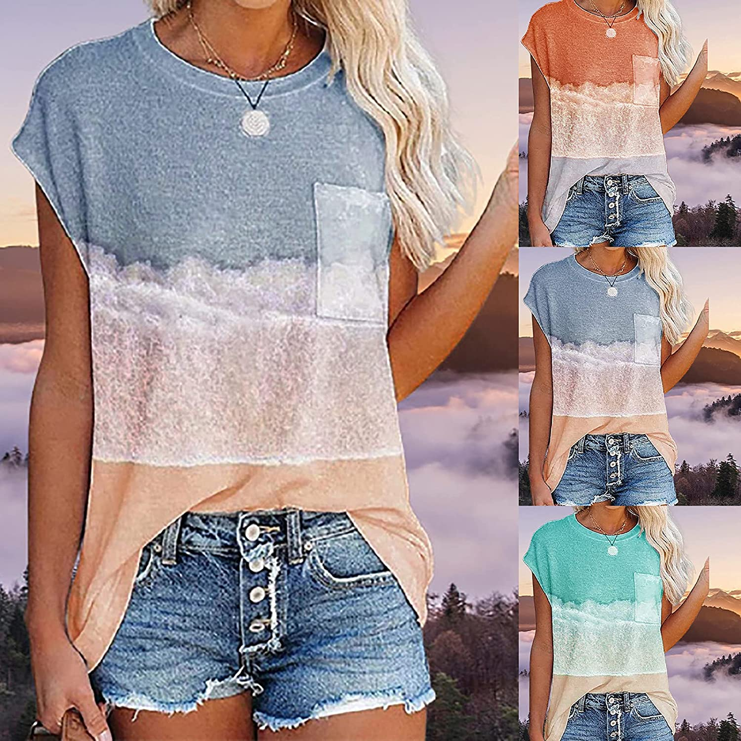 Womens Summer T Shirts Macaron Cute Color Blouse Stitching Pocket Casual Tops Cap Sleeve Round Neck Tunics