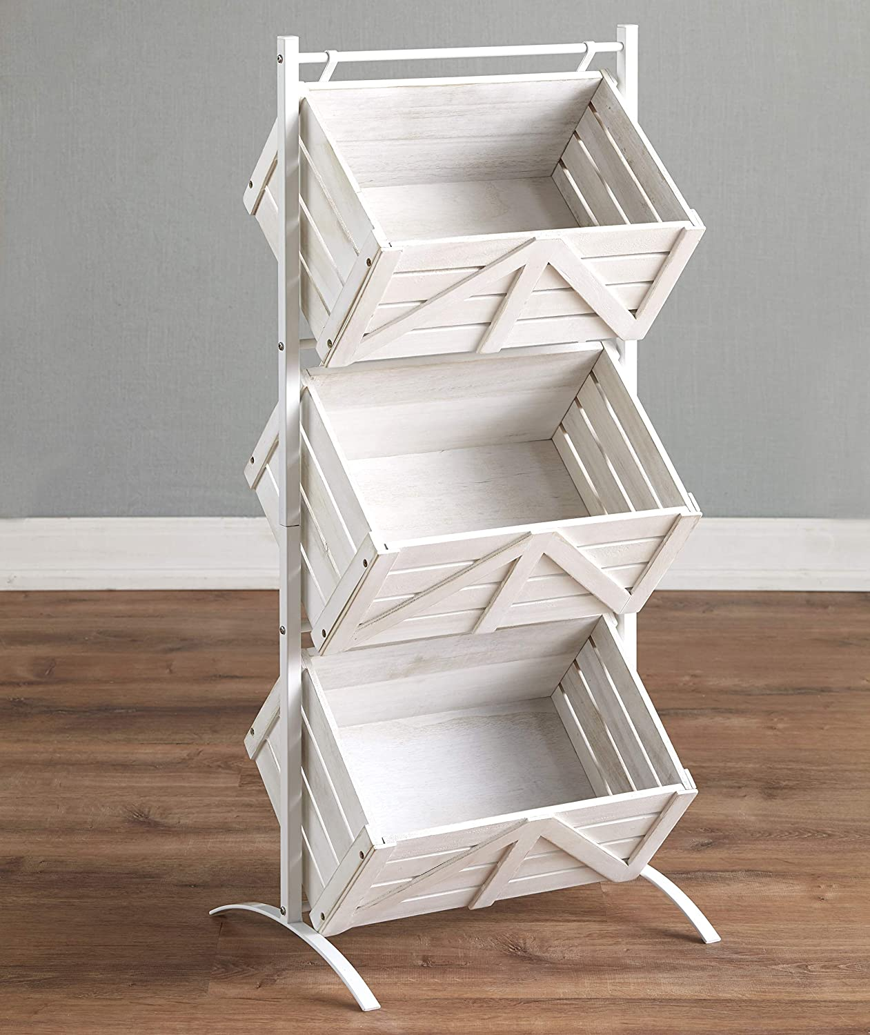 The Lakeside Selling Collection Triple Basket Storage New sales Shelvi Rack Rustic