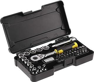 Stanley Stmt82672-0 Coffret De Douilles Compact ¼'' + Cliquet 72 Dents + 1 Rallonge 75Mm + 1 Porte Embout + 22 Embouts - B...