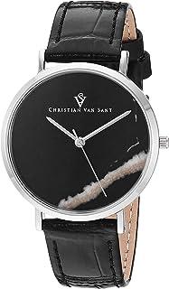 Christian Van Sant Women's Lotus Stainless Steel Quartz Leather Calfskin Strap, Black, 15 Casual Watch (Model: CV0421BK)