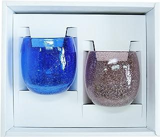 泡たるグラス2個ギフトセット(青・紫) 【感謝をこめて沖縄伝統工芸品を贈ります】