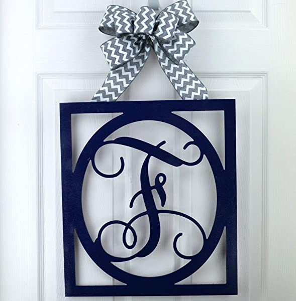 Initial Monogram Door Hanger Gift For Mom Framed Wood Letter Wreath LOTS OF COLOR OPTIONS