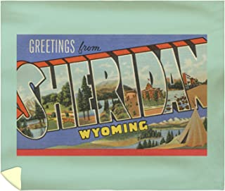 Lantern Press Greetings from Sheridan, Wyoming 7284 (88x104 King Microfiber Duvet Cover)
