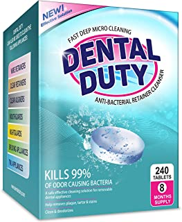 240 Retainer and Denture Cleaning Tablets (8 Months Supply) - Cleaner Removes Bad Odor, Plaque, Stains from Dentures, Retainers, Night Guards, Mouth Guard, and Removable Dental Appliances. Made In USA