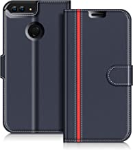COODIO Custodia in Pelle Huawei P Smart, Custodia Huawei P Smart, Custodia Portafoglio Cover Porta Carte Chiusura Magnetica per Huawei P Smart, Blu Scuro/Rosso