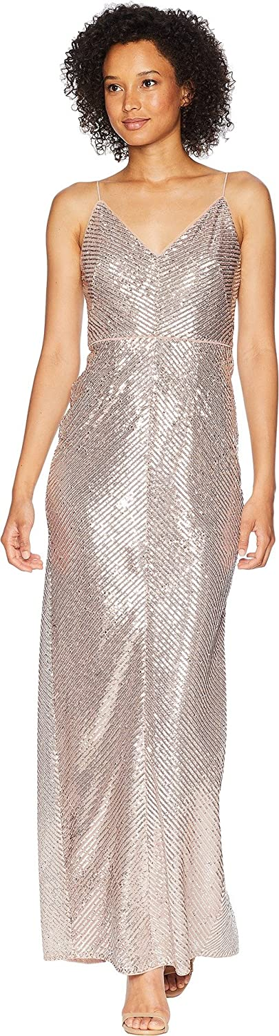 Adrianna Papell Womens Long Sequin Gown