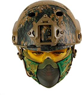 Geelife PJ Type Tactical Fast Helmet with Ear Protect Foldable Half Face Mesh Mask and Goggles Set