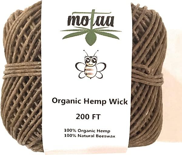 MOTAA 100 Natural Hemp Wick With Coated Natural Bees Wax 200ft Spool NO Dripping SLOW BURN HEMP WICK