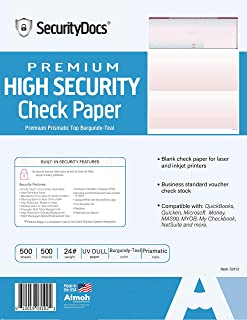 Checks Stock Premium High Security - Check on Top - Marble Burgundy-Teal
