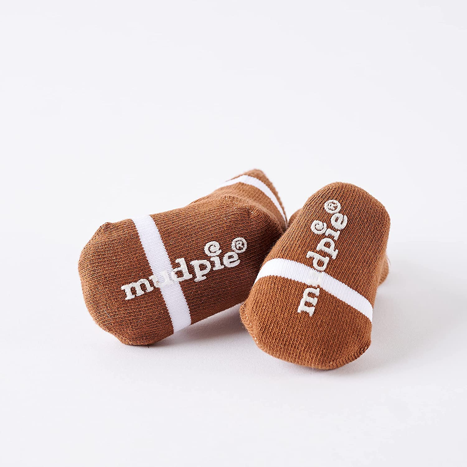 Mud Pie Newborn Baby-Boys Football Socks, Brown/White, 0-12 Months: Infant And Toddler Socks: Clothing