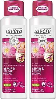 lavera Haar Shampoo Repair & Pflege  Rose  Trockene strapazierte Haare  vegan  Bio Haarshampoo  Natural & innovative Hair Care  Naturkosmetik  Haarpflege 2er Pack 2 x 250 ml