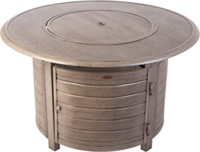 Fire Sense Thatcher Barnwood Round Aluminum LPG Fire Pit Table | 50,000 BTU Output | Uses 20 Pound Propane Tank | Fire Bowl Lid, Vinyl Weather Cover, and Clear Fire Glass Included | Lightweight