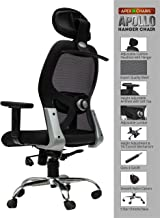 SAVYA HOME APEX Chairs Apollo Nylon HIGH Back Office Chair Adjustable Arms and Hanger (Black)