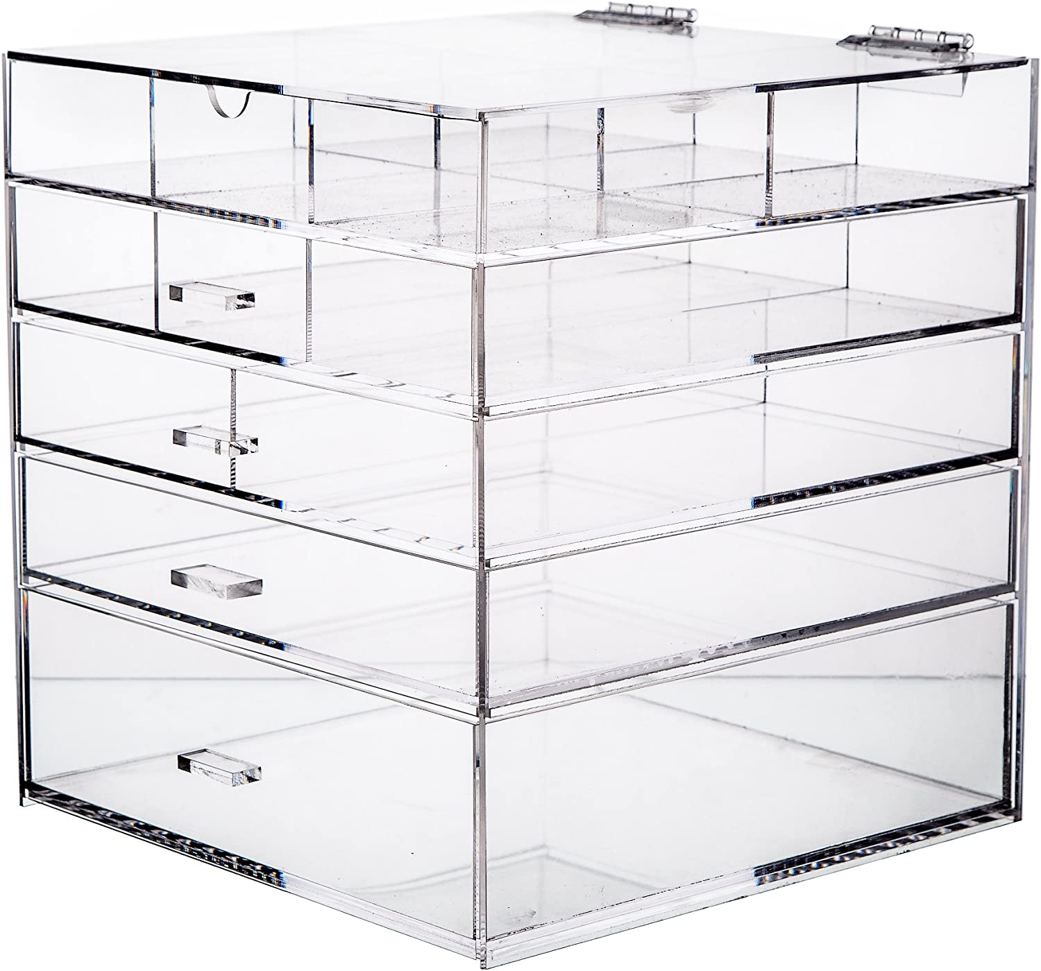 Cq acrylic Large 5 Tier Drawer Acrylic Makeup Organizer 10 x10 x11 ,Pack of 1