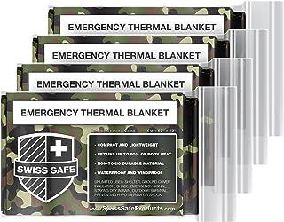 Swiss Safe Emergency Mylar Thermal Blankets (4-Pack) + Bonus Signature Gold Foil Space Blanket: Designed for NASA, Outdoor...