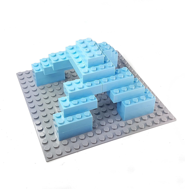 Bausteine - 520 Stück, Kompatibel zu Allen Anderen Herstellern - Inklusive Box und Grundplatte, Mehrfarbig Bunt Hell-blau
