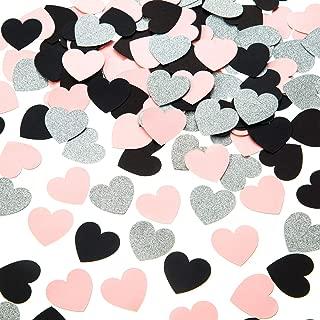 Heart Confetti Glitter Silver Pink Black Confetti for Party Table Decorations, 1.2