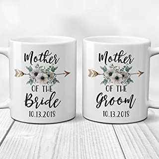 Mother of the Bride or Groom Coffee Mug with Arrow and Flowers Bridal Party Gifts, Bride Tribe