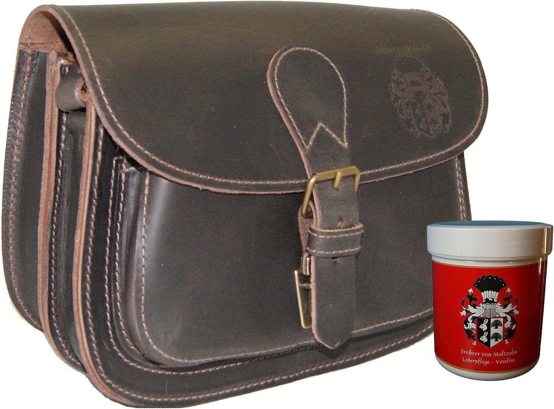BARON of MALTZAHN Shoulder bag HUBERTUS brown organic leather  incl. leather care