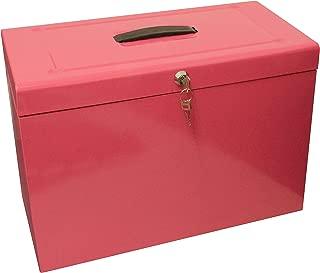 Caja archivadora de metal, tamaño folio, color rosa