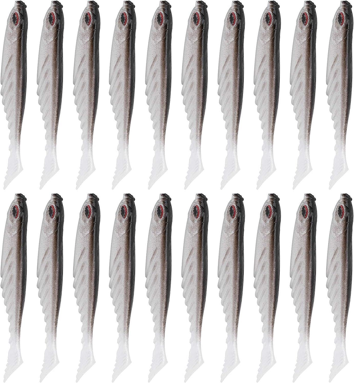 pour Le mat/ériel de p/êche P/êche en mer//p/êche fra/îche leurres Souples app/ât Artificiel en T Queue de silice Huakii Leurres artificiels en Gel de silice de Simulation