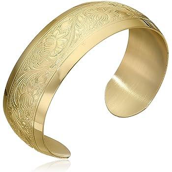 14k Yellow Gold-Filled Embossed Flower Design Cuff Bracelet