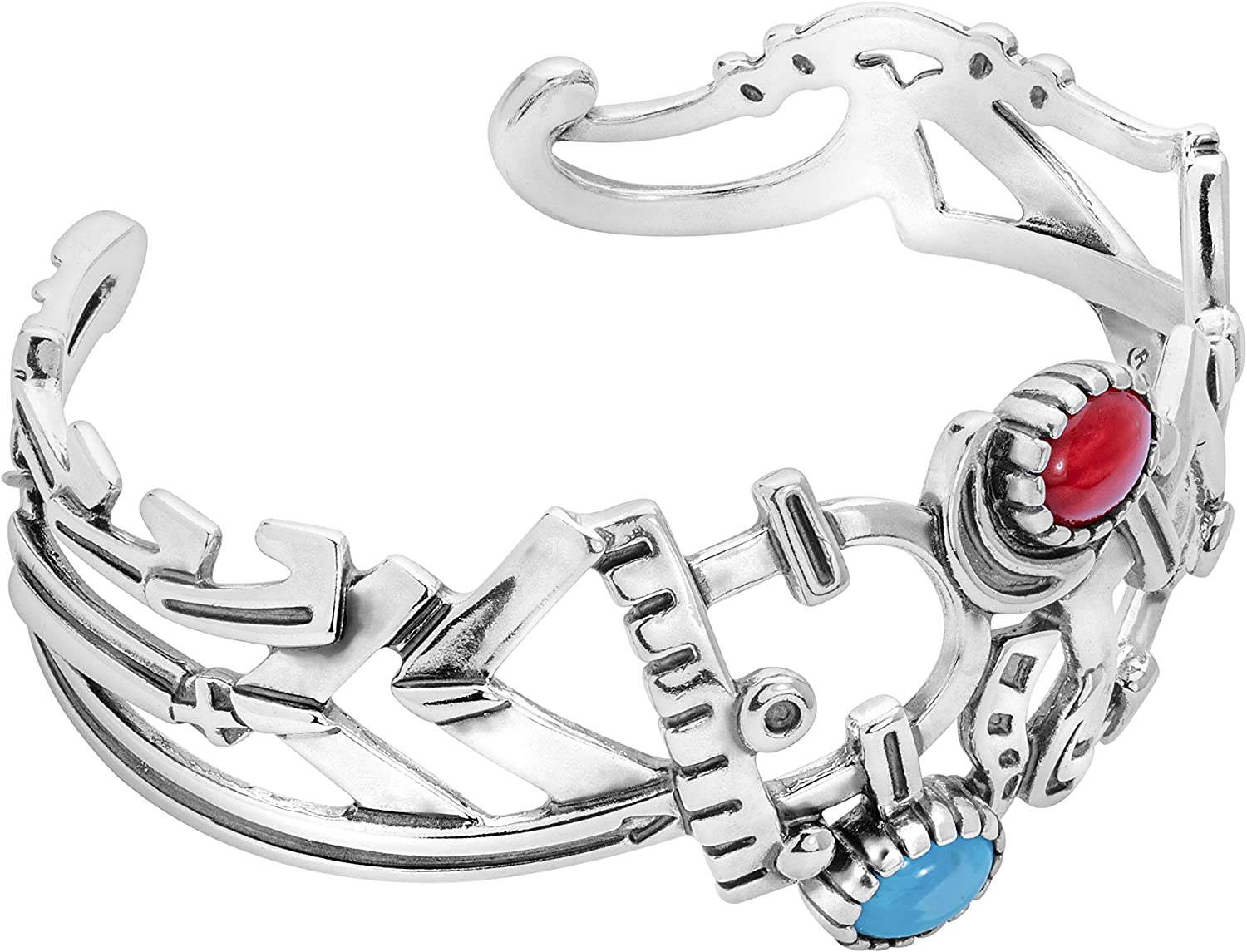 American West Sterling Silver Turquoise and Red Coral Gemstone F