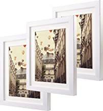 8x10 Matted White Picture Frames Set of 3 Glass Front Made to Display Pictures 6x8 with Mat for Wall & Tabletop Ideal Thanksgiving Day