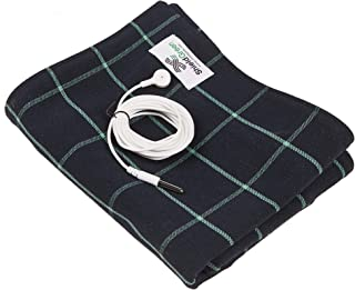 shieldgreen-EMF,RF Shielding+Earthing Therapy Blanket(for UK), Stainless Steel Yarn 30% Fabric+Earthing snap for Whole Body Earthing (Check(Green))