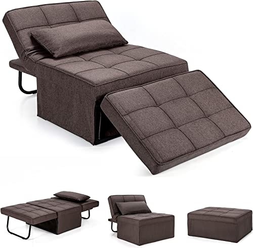 wholesale Giantex Sofa Bed Convertible Sleeper high quality Adjustable Recliner Chair 4 in new arrival 1 Multi-Function 6-Position Backrest Ottoman Guest Bed Sofa Couch with Waist Pillow No Assembly (Brown) online sale