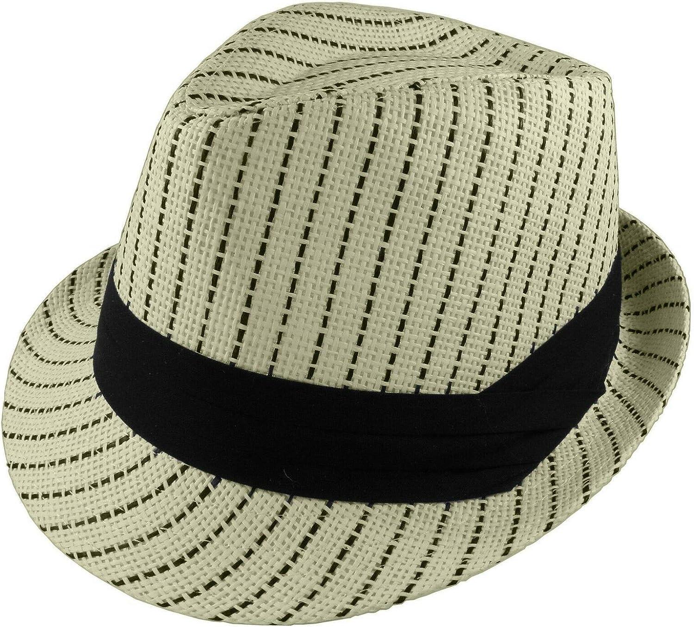 Unisex Beige Black Stripe Summer Fedora Panama Straw Hats with Band Size S/M