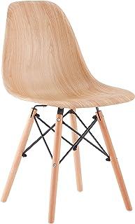 Lot de 4 chaises de salle à manger tendance minimaliste, coussin en plastique, grain de bois, pieds en bois de hêtre massi...