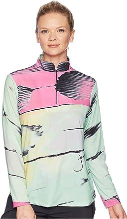 Sunsense® Lightweight Metamorphosis Print 1/4 Zip Long Sleeve Top with 50 SPF