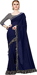 Shonaya Women's Vichitra Silk Foil Printed Ruffle Saree(Navy Blue_Free Size)