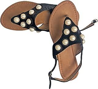 Womens Pearl Studded Back Strap Sandals Flip Flops