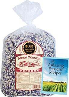 Amish Country Popcorn | 6 Lb Blue Kernels | Old Fashioned, Non GMO, Gluten Free, Microwaveable and Kosher with Recipe Guide (6lb Bag)
