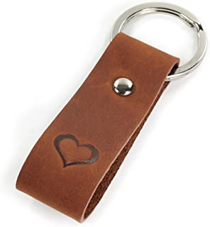 Key Chain Genuine Leather Embossed Heart – A great gift for Men and Women Exquisite Feel – Key Ring – A Gift of Luminick®