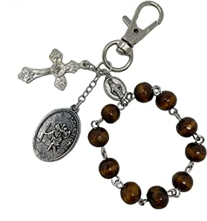 St Christopher Medal For Car - Car Rosary For Rearview Mirror - St. Christopher Keychain Rosary For Car Rearview Mirror