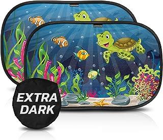 Parasol coche con protección UV extra oscura - autoadhesivo, para proteger del sol a bebés y mascotas, 2 parasoles para bebé con diseño de tortuga