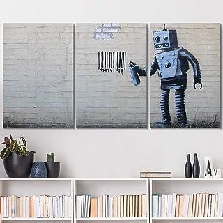 "wall26 - Banksy Street Art Robot - Canvas Art Wall Art - 24""x36""x3 Panels"