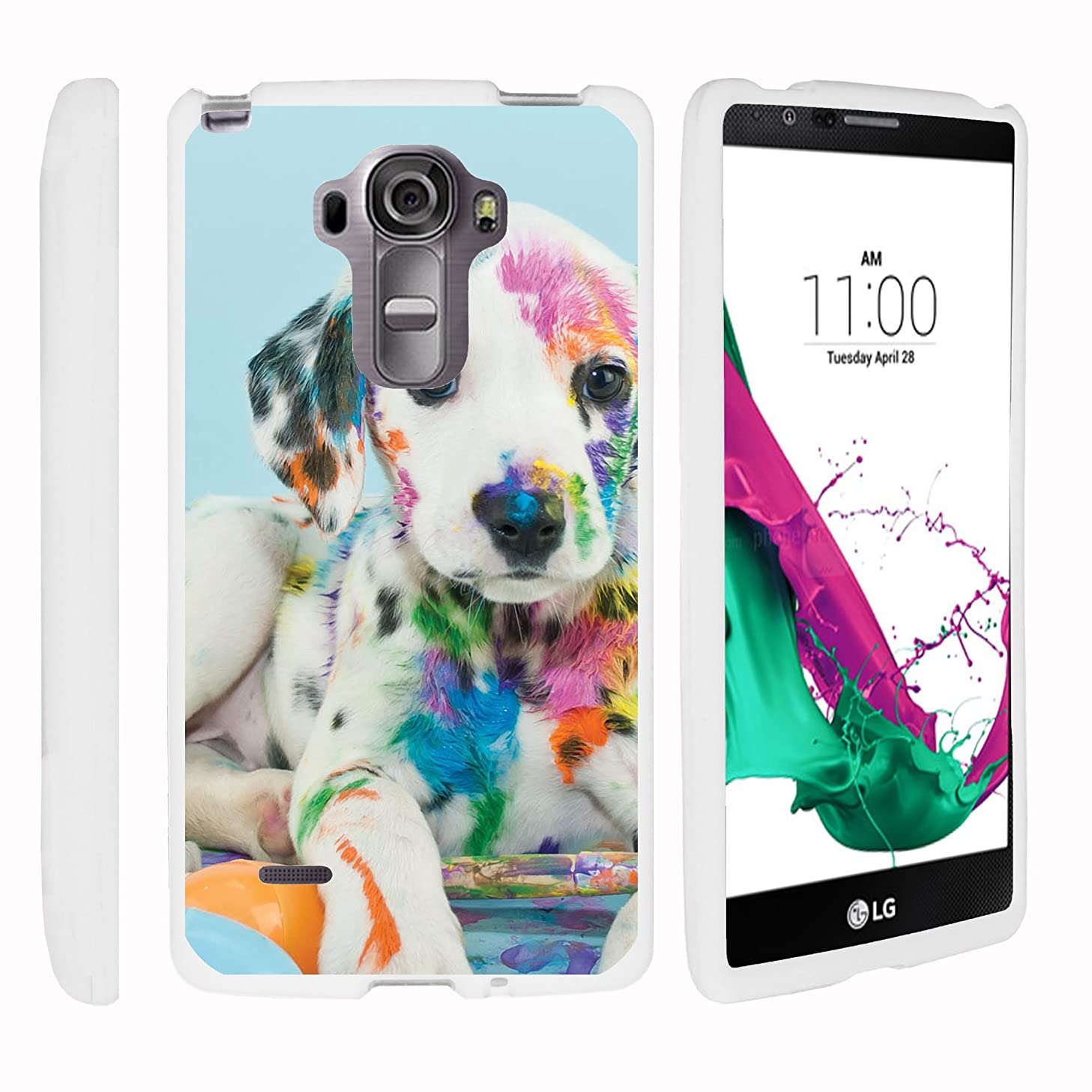 MINITURTLE Compatible with LG G Vista 2 H740 White Phone Case, Snap on Hard Cell Phone Cover Animal Artwork Colorful Puppy