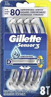 Gillette Sensor3 Men's Disposable Razor, 8 Count