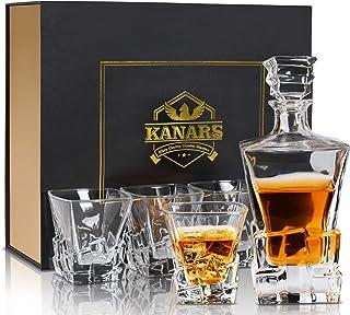 KANARS Whiskey-Dekanter-Set mit luxuriöser Geschenkbox, bleifreier Kristall, 765 ml, mit 4 Eisberg-Glas, 284 ml, für Scotch, Bourbon und Irish Whisky, 5-teilig