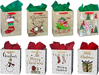 ViiGift Premium Medium Christmas Gift Bags with Glitter and Tissue Papers, 8 Pack